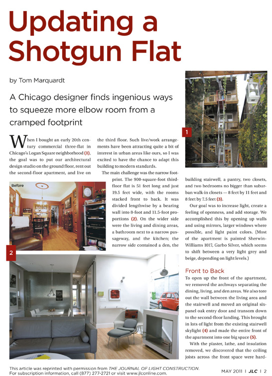 Here Is One For The Journal Of Light Construction Detailing The Design  Process Of Updating A Cramped, Maze Like Shotgun Apartment Into A Modern,  Airy Flat.